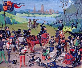 De Slag bij Azincourt op een vijftiende-eeuws miniatuur